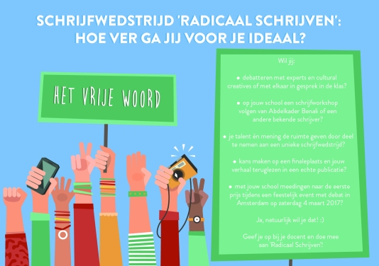 Voorzijde flyer 'Radicaal Schrijven' © Ilse Meursinge, 2016